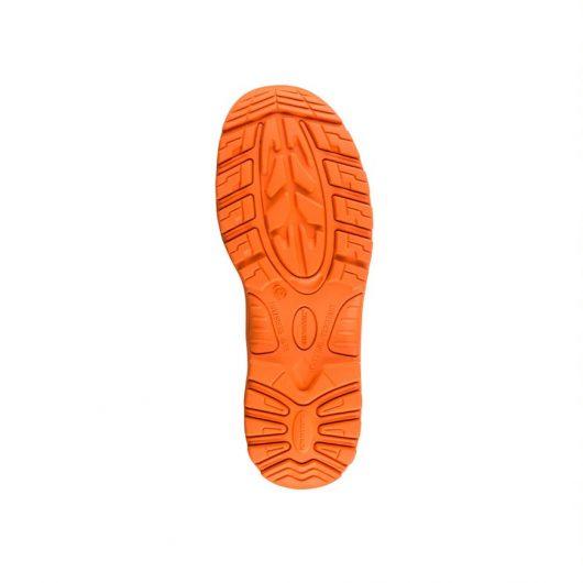 This image shows the hi-viz slip resistant sole of Buckler BVIZ3 Orange/Black