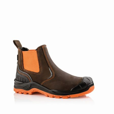 This image shows a side view of the Buckler BVIZ3 Orange/Brown Safety Dealer boot