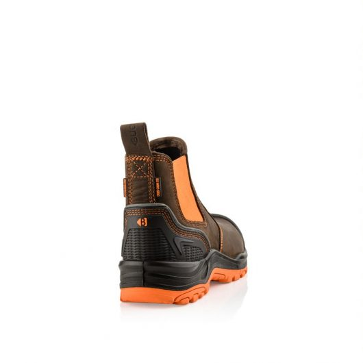 This image shows a rear view of the Buckler BVIZ3 Orange/Brown with extended heel guard