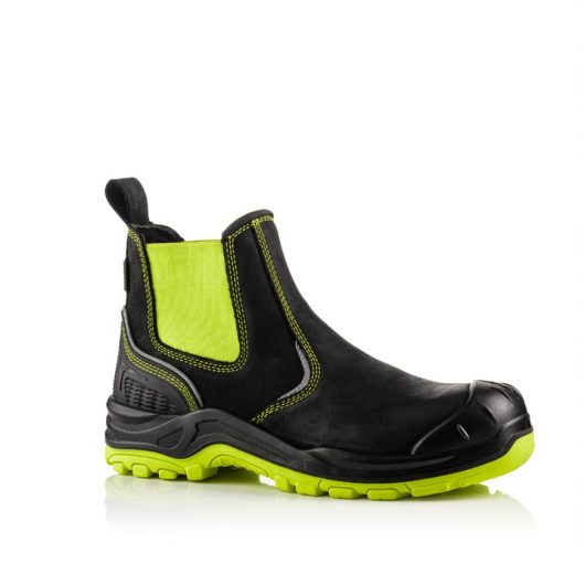 This image shows a side view of the Buckler BVIZ3 Yellow/Black Safety Dealer boot