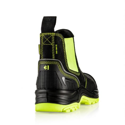 This image shows a rear view of the Buckler BVIZ3 Yellow/Black with extended heel guard
