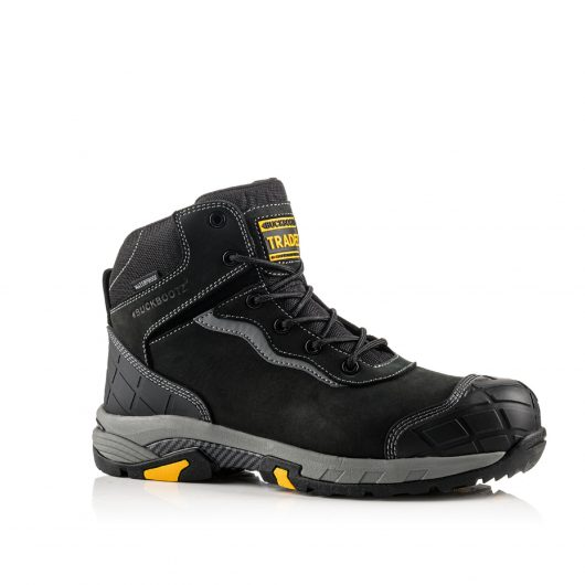 Image shows a side view of Buckler Blitz Black lace boot with anti-scuff toe and heel guard