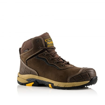 Image shows a side view of Buckler Blitz Brown lace boot with anti-scuff toe and heel guard