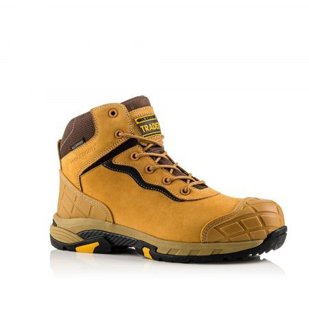 Image shows a side view of Buckler Blitz honey lace boot with anti-scuff toe and heel guard