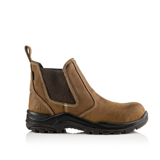This image shows the side profile of the slip-on Buckler Brown Dealerz safety boot with rubber sole