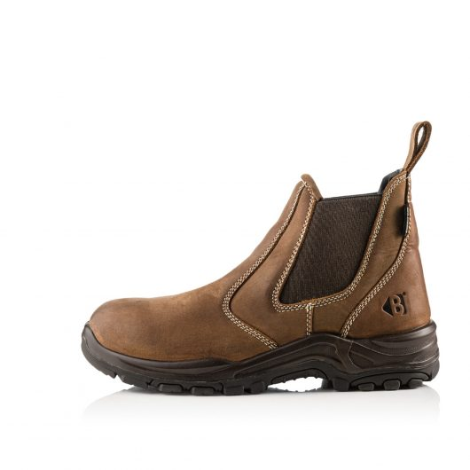 This image shows the side profile of the slip-on Buckler Brown Dealerz Non-safety boot with rubber sole