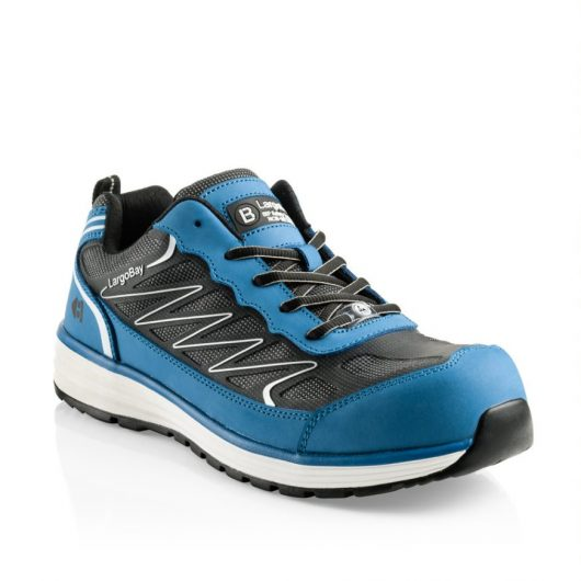 This image shows a side view of Buckler Guyz blue safety trainer with mesh upper