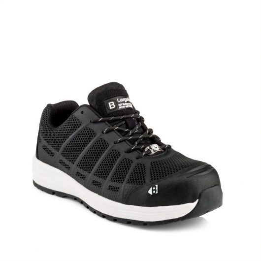 This image shows a side view of Buckler Kez lace safety trainer with white sole