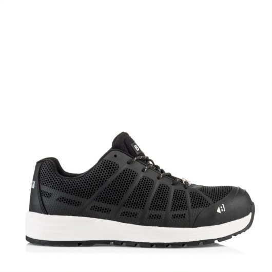 This image shows the side profile of Buckelr Kez black safety trainer