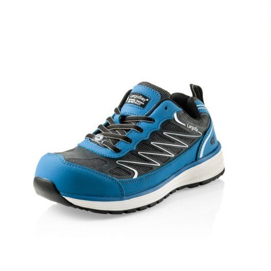 This image shows a side view of Buckler Liz blue safety trainer