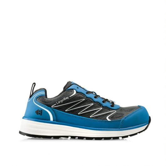 This image shows the side profile of Buckler Liz blue safety trainer with mesh upper