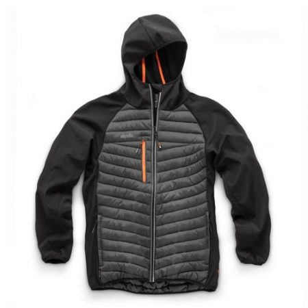 This image shows the Scruffs Trade Thermo Jacket (black) with grey body and orange zip