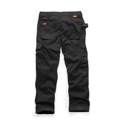 This image shows the back of Scruffs Black Worker Trousers with discreet orange Scruffs branding