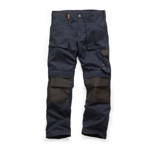 This image shows Scruffs navy worker trouser with, multiple use pockets