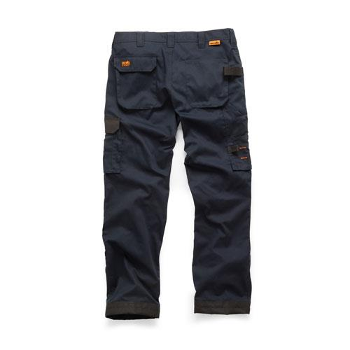 This image shows the back of Scruffs Navy Worker Trousers with discreet orange Scruffs branding