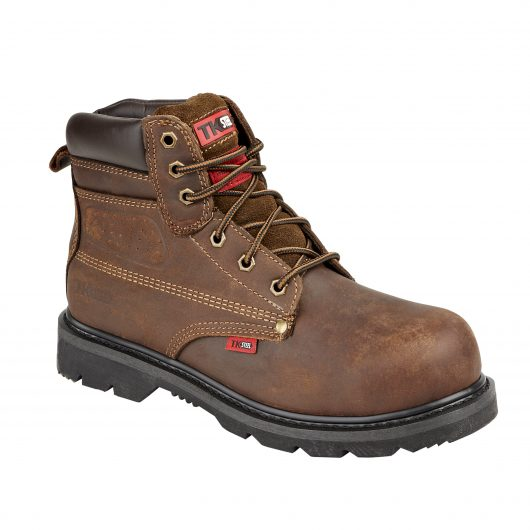 This image shows the TuffKing Alder brown boot with metal loops and padded collar/tongue