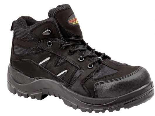 This image shows the Samson Alpine black safety hiker boot with scuff guard and reflective strips