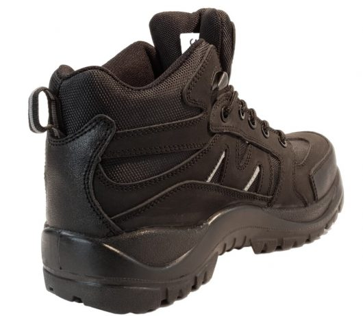 This image shows the back of Samson Alpine safety hiker boot with kick plate and padded collar