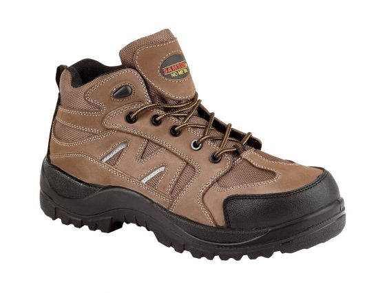This image shows the Samson brown Alpine hiker boot with scuff guard, kick plate and reflective strips