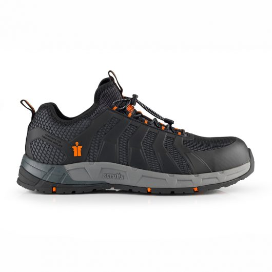 This image shows a side profile of Scruffs Argon trainer with grey sole and two tone stripe