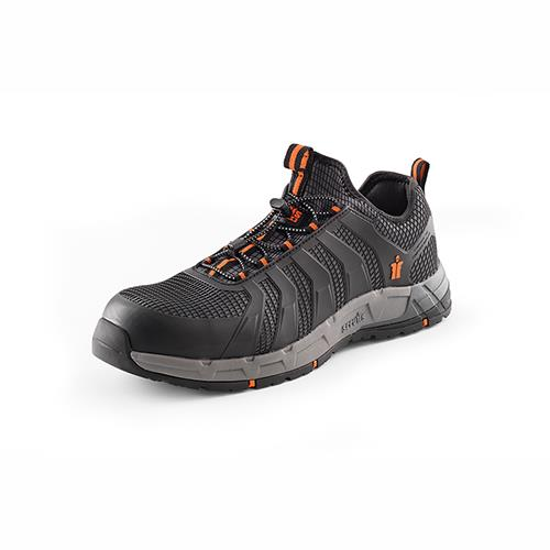 This image shows Scruffs Argon trainer with orange detailing and discreet branding