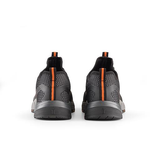This image shows the back of Scruffs Argon trainer with orange strip up the heel of the shoe