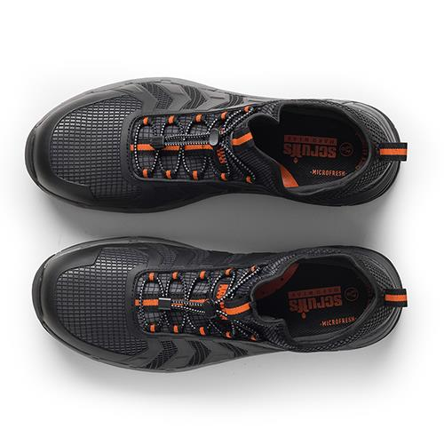 This image shows a birds eye view of Scruffs Argon trainer with two tone black/grey colouring and orange detailing on the laces