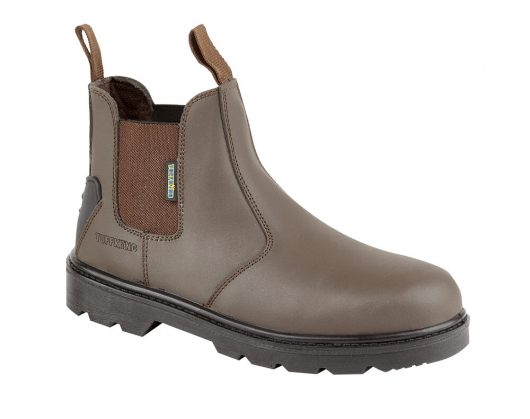 This image shows Tuffking Brook safety slip on boot with elasticated side panels and pull tabs