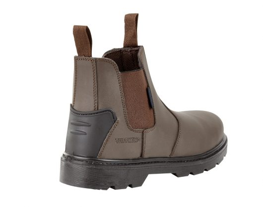 This image shows the back of Tuffking Brook slip on safety boot with rear kick plate and slip resistant sole
