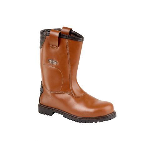 This image shows the Burnley Waxy Redskin Safety Rigger Boot with steel black NITREK sole