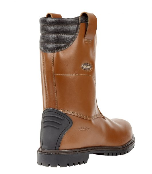 This image shows a rear view of the Samson Burnley Rigger boot with rear kick plate