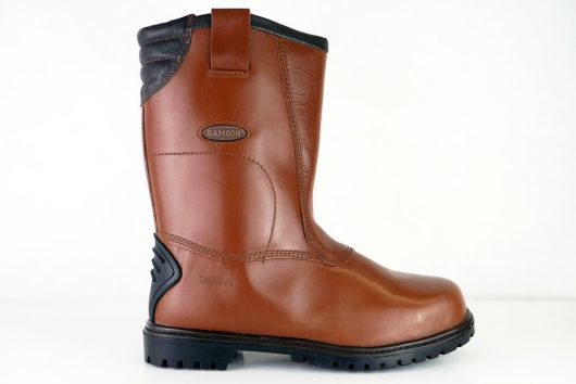 This image shows a side view of the Burnley rigger boot with leather tab pullies and padded collar