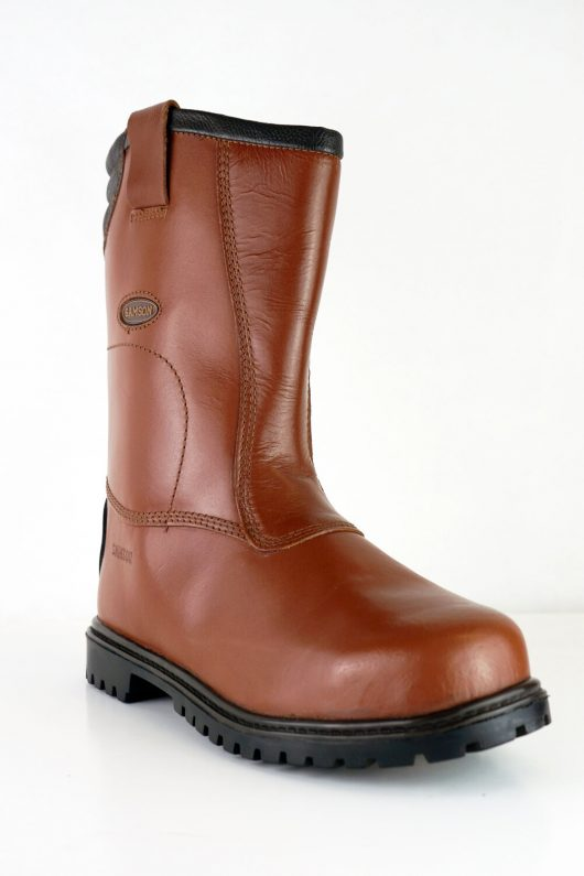 This image shows a front view of the Burnley Rigger boot in waxy red
