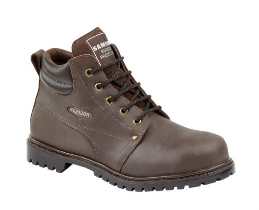This image shows the Samson Crewe safety boot with durable metal loops
