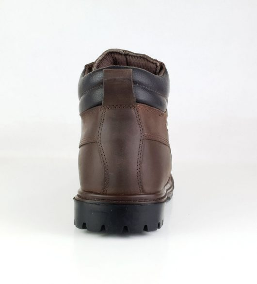 This image shows a rear view of the Samson Crewe safety boot with padded collar