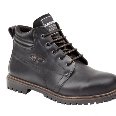 This image shows the Samson Crewe Safety Boot in black with metal loops and discreet Samson branding