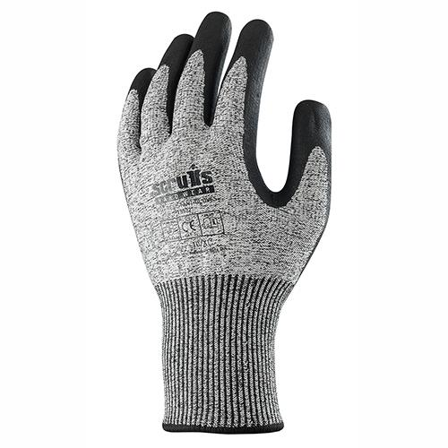 This image shows the back of Scruffs cut resistant gloves with small scruffs logo and two-tone grey colouring
