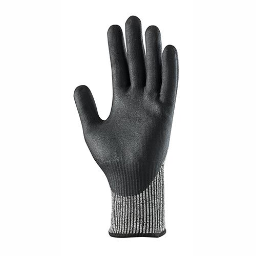 This image shows the palm of Scurffs cut resistant gloves with black nitrile coating