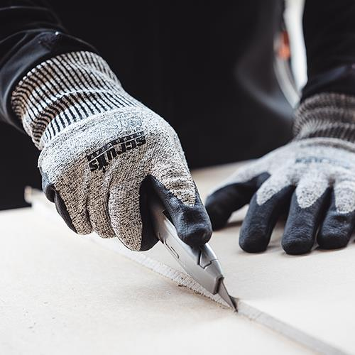 This image shows Scruffs cut resistant gloves in the work place