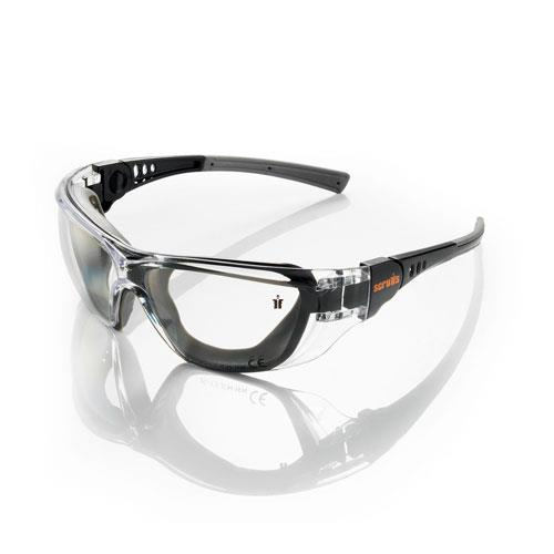 This image shows the Scruffs Falcon safety specs in black with sealed lenses and discreet orange scruffs branding