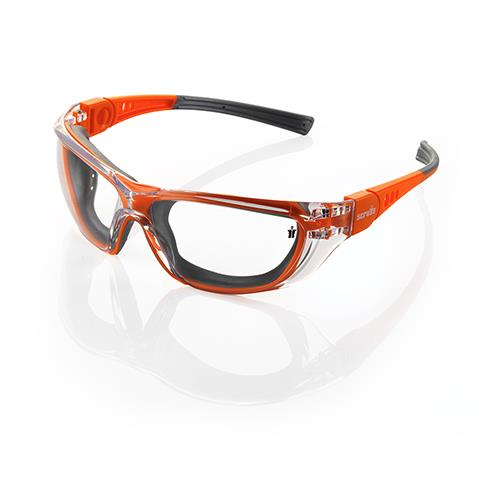 This image shows the Scruffs Falcon safety specs in orange with grey detailing