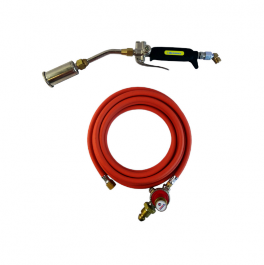 This image shows the Brenner premium torch kit with 5m red hose