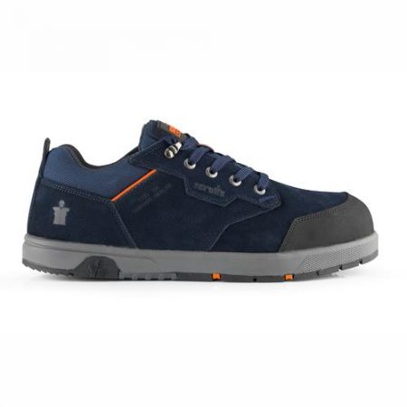 This image shows Scruffs Halo3 safety trainer with grey sole and orange detailing