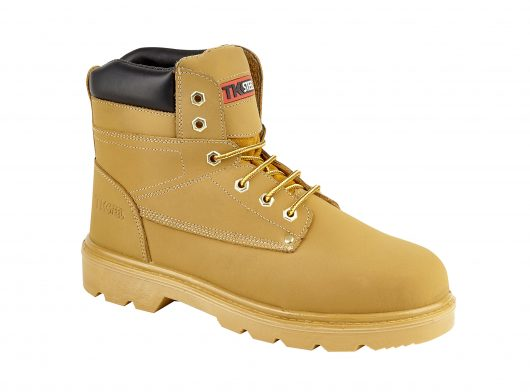 This image shows TuffKing Hayes Nubuck Honey safety boot with padded collar and metal loops