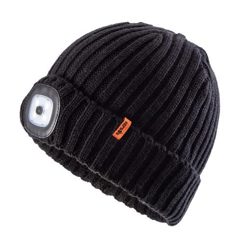 This image shows Scruffs LED beanie in black ribbed strecth material with discreet Scruffs branding on the collar