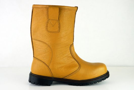 This image shows a side view of Ludlow rigger boot with leather pullie tabs
