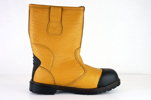 This image shows a side view of Ludlow+ Safety Rigger Boot with scuff guard and side pullie tabs