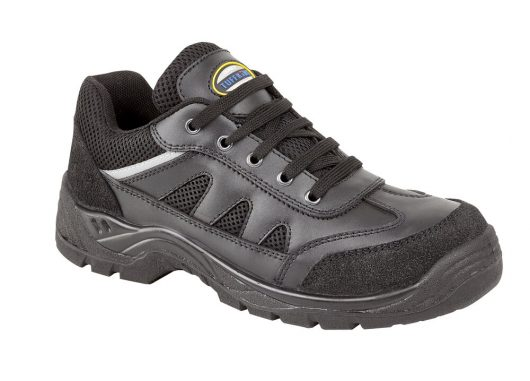 This image shows Tuffking Onyx black trainer with scuff resistant toe and heel caps