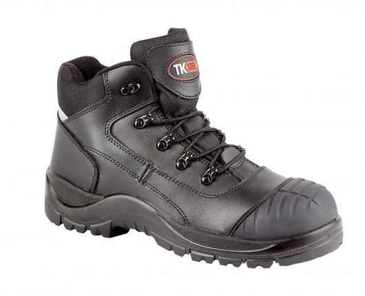 This image shows black Rebel safety boot wirh rubber scuff guard and padded collar