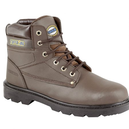 This image shows the Tuffking Regal safety boot with padded collar and metal lace loops